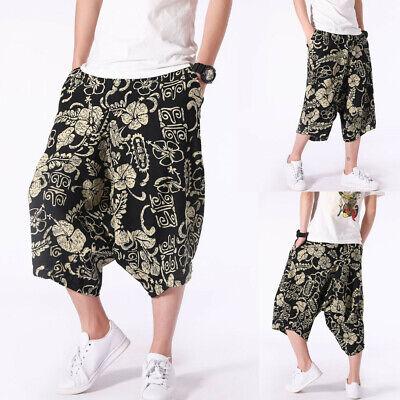 Men Casual Pants Linen Harem Cropped Trousers Wide Leg Low Crotch Loose Summer