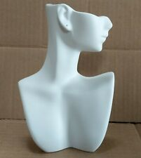 Less Than Perfect 184 H White Self Standing Jewelry Display Bust With Pierced Ear