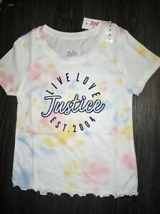 Girls-justice-ruffled-short-sleeve-tye-dye-logo-tee-size-8-new