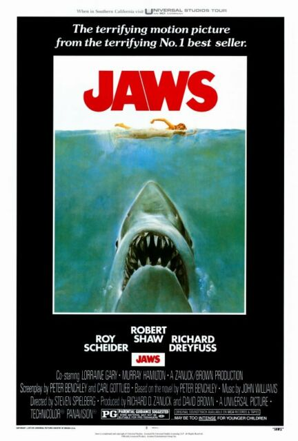 JAWS Movie Poster Fabric 8x12 20x30 24x36 E-491