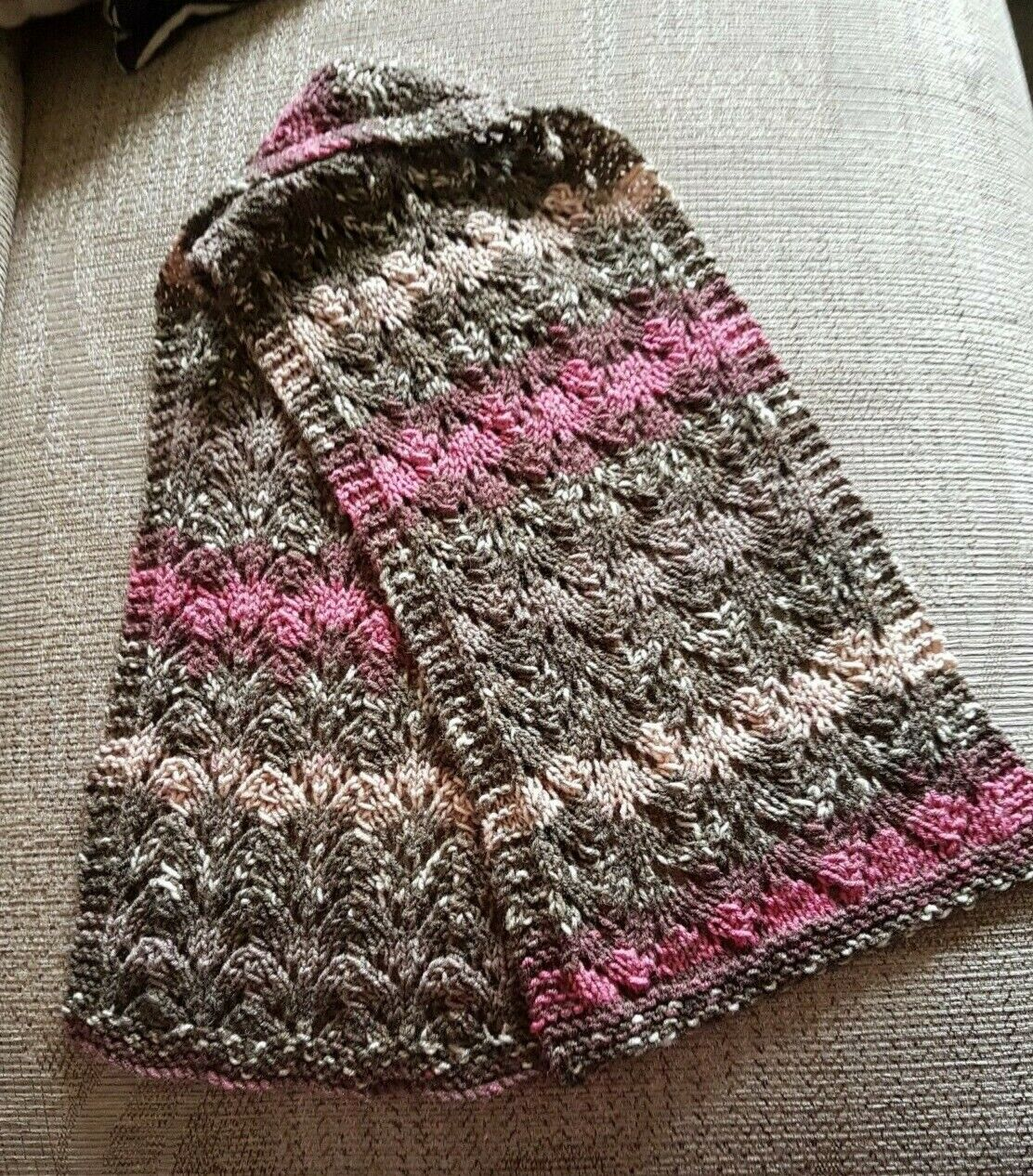 New Hand Knitted Lace Effect Scarf - Pink/Grey