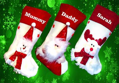 NEW WHITE /& RED Personalised //Plain LUXURY PLUSH LINED Christmas XMAS Stocking