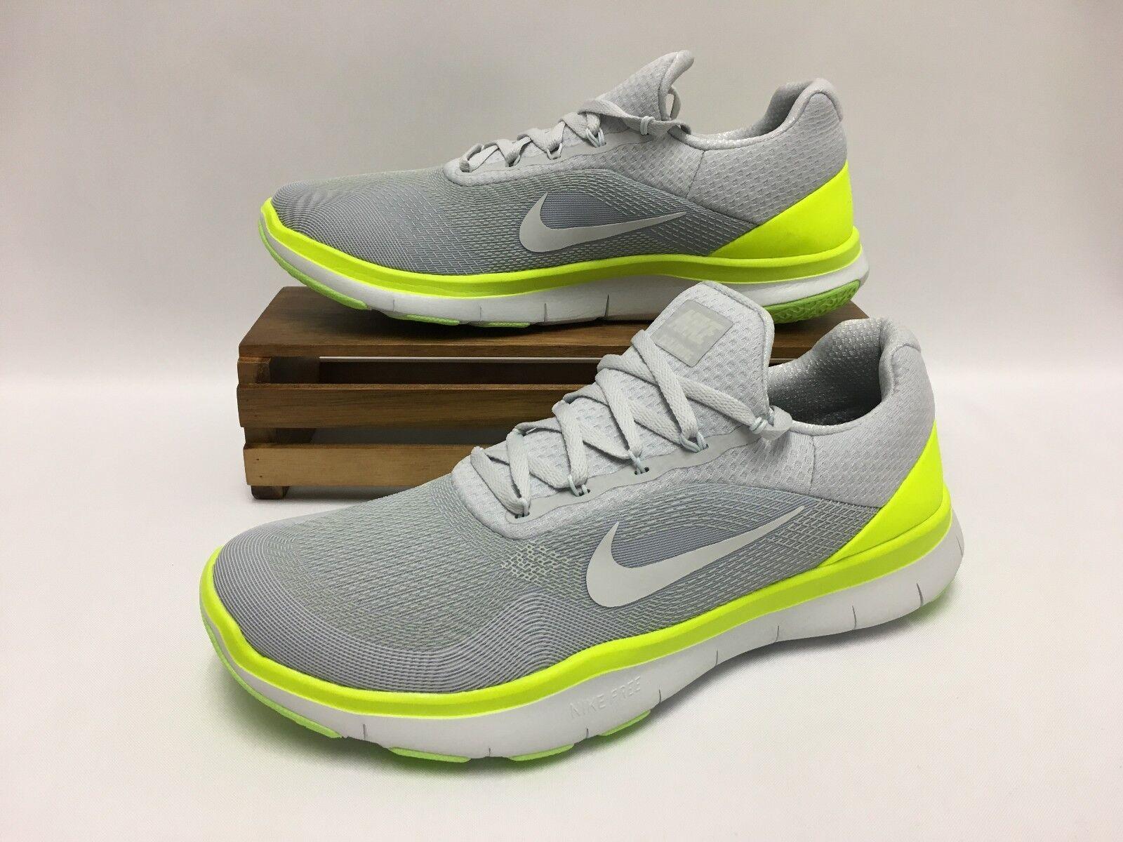 Nike Free Trainer V7 Training Shoes Gray White Volt 898053-002 Men's Size 9.5