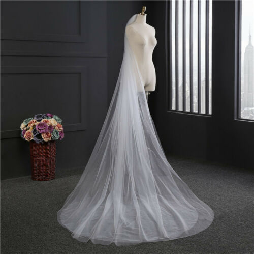 3M Women Ivory Creamy White Bride Bridal long Wedding head hair Veil with comb
