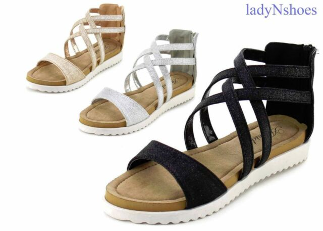 NEW Women's Ankle Strap Glitter Strappy Gladiator Flat Sandals Shoes Size 6 - 11