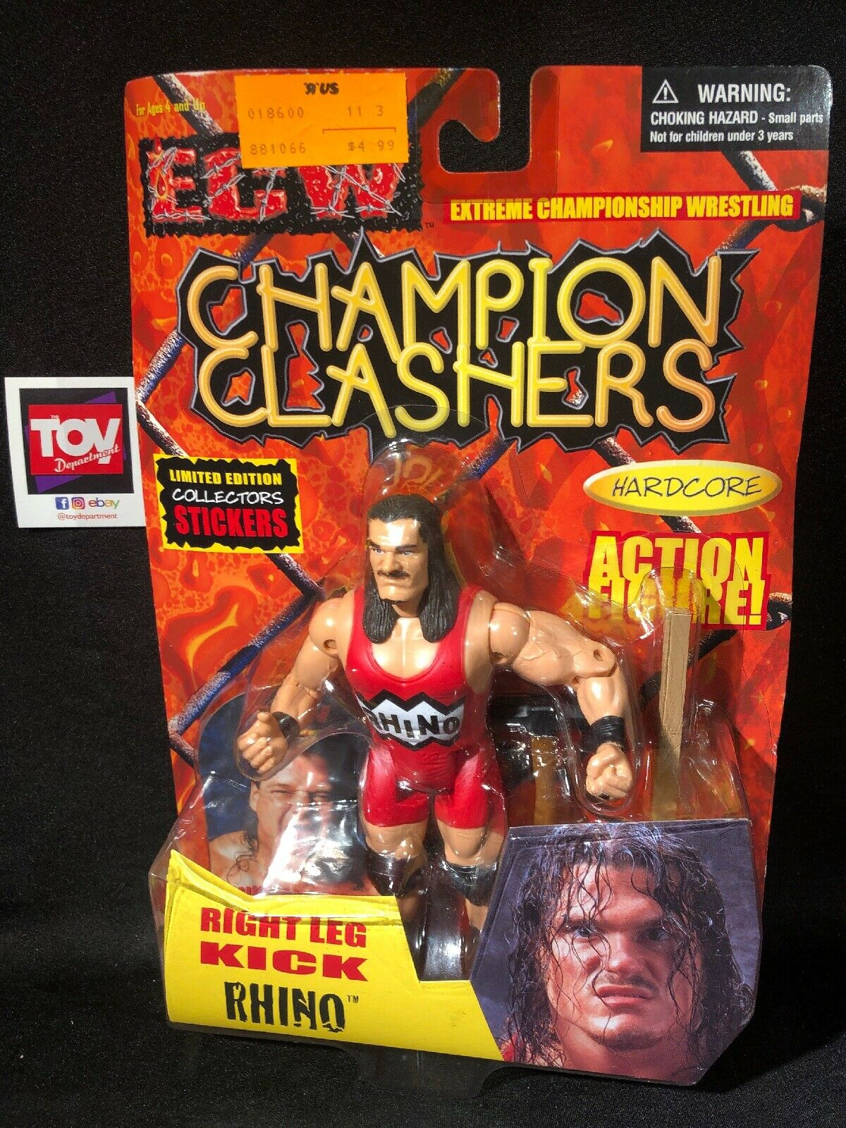 OSFTM Toymakers ECW Champion Clashers Right Leg Kick RHINO figure MOC wrestling