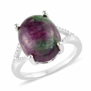 925-Sterling-Silver-Ruby-Zoisite-Solitaire-Ring-Jewelry-Gift-for-Women-Cttw-6-9