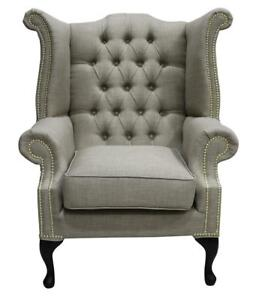 Chesterfield-Queen-Anne-High-Back-Wing-Chair-Charles-Fudge-Brown-Natural-Linen