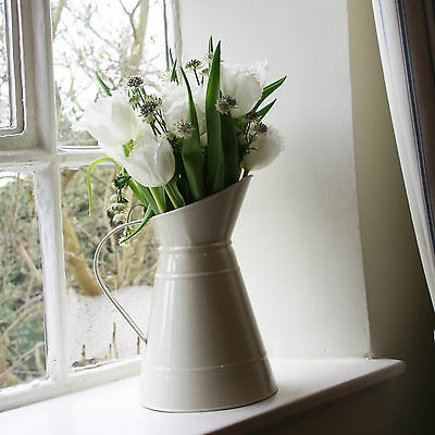 1 x Cream Metal Jug | Shabby Chic Vintage Country Jugs For Wedding Centrepiece