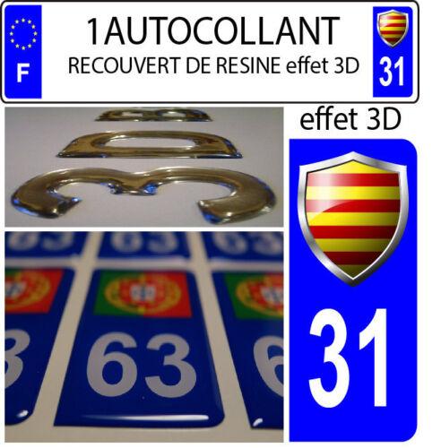 1 sticker plaque immatriculation auto 3D EN RESINE DRAPEAU CATALAN BLASON DEP 31