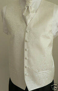 Classic-Ivory-Scroll-Men-039-s-Boys-039-Wedding-Waistcoat-amp-Matching-Cravat-Set