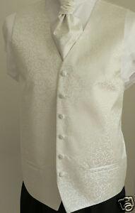 Classic-Ivory-Scroll-Mens-Boys-Wedding-Waistcoat-Matching-Cravat-Set