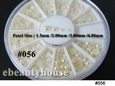 Nail Art Decoration Pearl / Crystal Glitter / Silver Rhinestones + Wheel #056XX