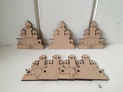 10 x PRINCESS CASTLES - Etched 10cms Bunting - MDF Blank Craft Shapes Blank Tags