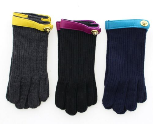 Coach 82823 Women's Rib Knit Turnlock Leather Trim Casual Gloves