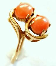 Vintage 14K Solid Gold and Natural Undyed Salmon Red Coral Ring Size 5 1/4