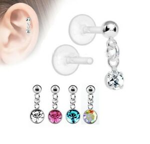 Push In Dangly Crystal Flat Back Tragus Lip Barhelix Cartilage