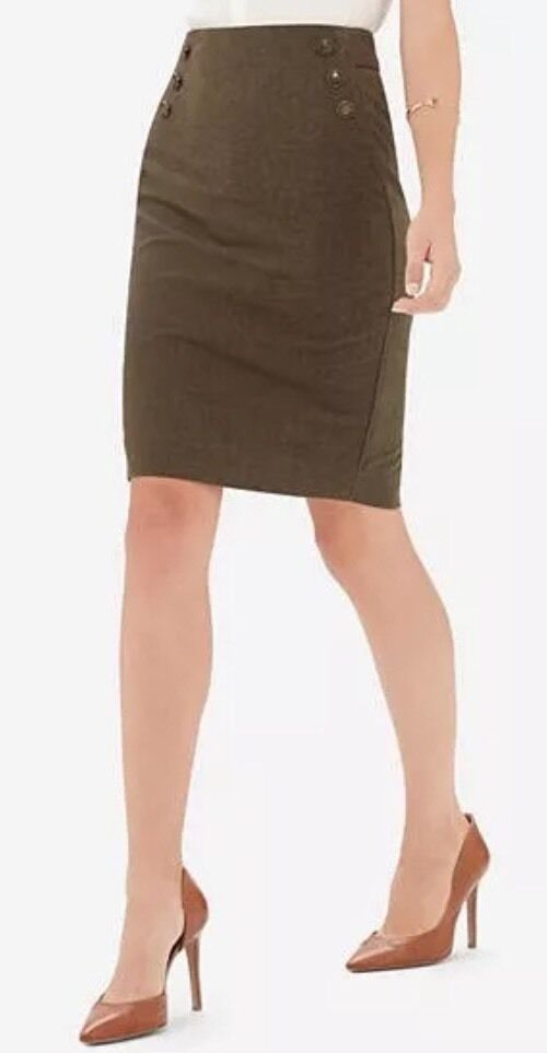 New The Limited Buttoned High Waist Olive Green Skirt Size 2 Gorgeous