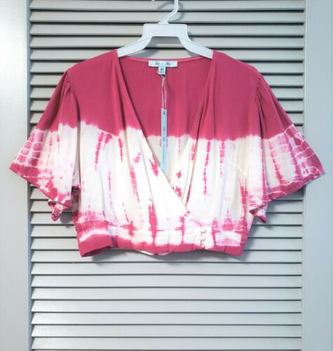 magenta tie-dye surplice crop top M urban outfit casual fashion
