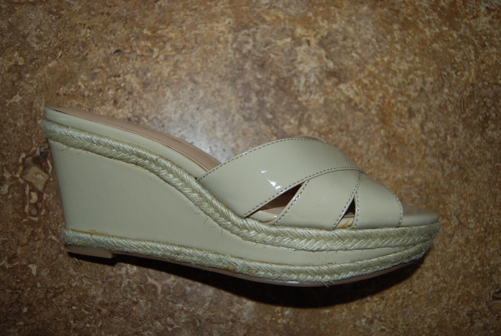 Tan Tall Faux Patent Leather & Hemp BANDOLINO Open Toe Tall Tan Wedge Shoes 6.5 M d3c9b3