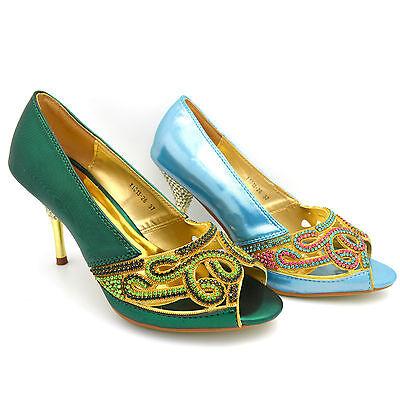 Para Mujer Damas Boda Sandalias De Tacón Alto Bridal Noche Peep Toe Shoes y1013-26