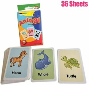 Animals-Flash-Cards-Set-Educational-Early-Learning-Picture-Word-Zoo-SEN-36-Cards