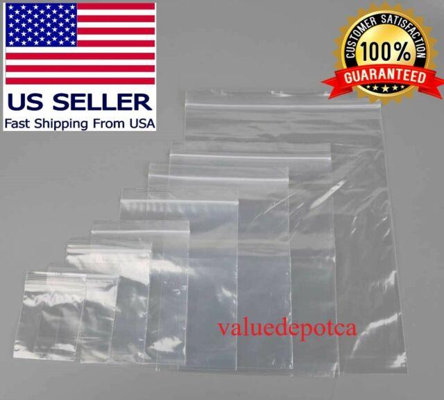 "Pick Quantity 1-1000 5/"" x 3/"" Reclosable Resealable Clear Long Zipper Poly Bag"