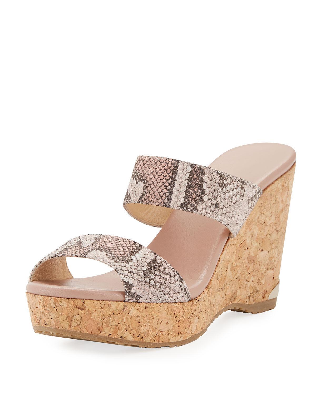 Jimmy Choo Parker Snake-Print Platform Wedge Slide Sandals   450.00 Size 41