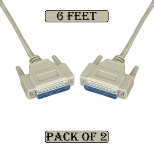 2x 6Ft 25-Pin DB25 Male to DB25 Male IEEE1284 Straight Parallel PC Cable Cord