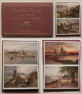 Leporello-Astudin-Karten-vom-Rhein-um-1890-Postkarten-Ortskunde-Geografie-sf