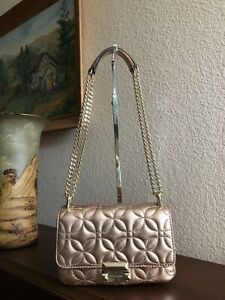 Details about Michael Kors Sloan Small Floral Quilted Metallic Rose Gold  Leather Shoulder Bag