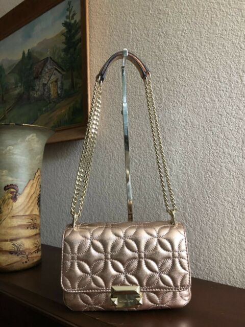 Michael Kors Sloan Small Floral Quilted Metallic Rose Gold Leather Shoulder Bag