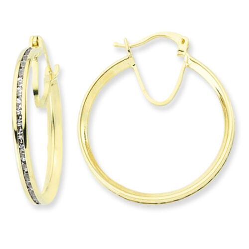 9CT GOLD CZ HOOP CUBIC ZIRCONIA HUGGIE CRYSTAL CUFF ETERNITY CREOLE EARRINGS BOX