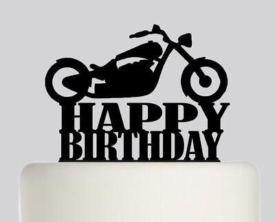 Magnificent Happy Birthday Chopper Motorbike Acrylic Cake Topper Birthday Cake Funny Birthday Cards Online Alyptdamsfinfo