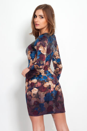 Womens Bodycon Crew Neck Dress with Print Party Fitted Style Long Sleeves FC63