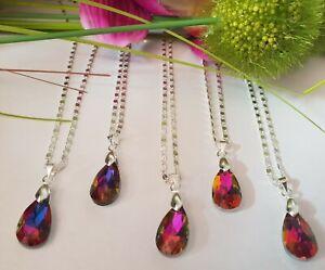 5-Stk-Halsketten-Kette-50-cm-Anhaenger-Tropfen-Regenbogen-925-Silber-pl-Haendler