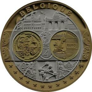 R1365 Medal Belgium 100 Euros Adenauer Schumann Spaak 2008 Silver 999% PF Proof