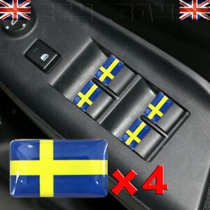 Suede-Drapeau-Logo-4x-Autocollant-Suedois-Badge-3d-Jante-en-Alliage-Saab-Volvo