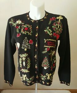 Ugly Christmas Sweater Button Up Casual Corner Annex Womens Medium