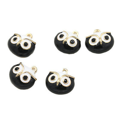 10x Black&White Enamel Gold Plated Alloy Owl Head Pendants Beadings Charms DIY D