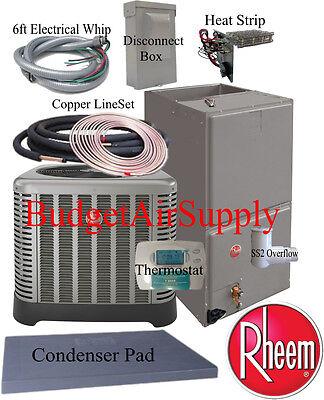 Details About Rheem Ruud Classic 5 Ton 14 SEER HEAT PUMP RP1460AJ RH1T6024ST 25ft INSTALL KIT
