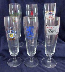 Pilsner-Glasses-Set-of-6-Assorted-Brands-Tuborg-Urquell-B-amp-E-amp-More-8-oz