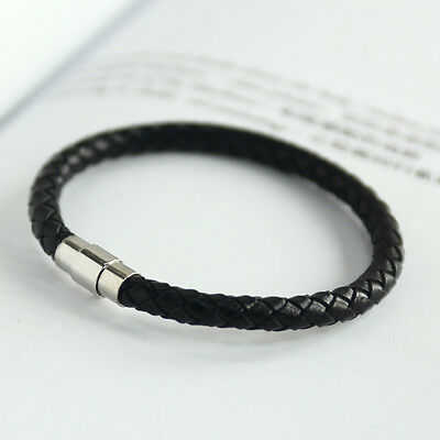 "Men Leather Magnet Bracelet Wristband Black Chain Wristband Gift 0.23"" CHIC"