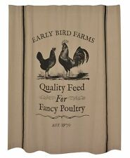 FANCY POULTRY Shower Curtain Vintage Farmhouse style Cottage Country Chic Hen
