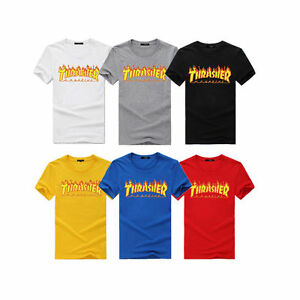 961c334ef786 2019 Men Women Kids Top Tee Thrasher T Shirt Flame Skateboard ...