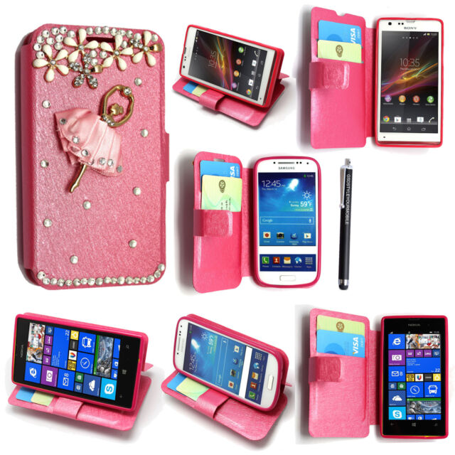 LUXURY 3D BLING DIAMOND LEATHER FLIP CASE COVER FOR SONY SAMSUNG NOKIA + STYLUS