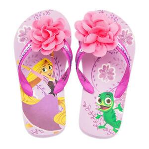 5979aa9382363 Disney Store Rapunzel   Pascal Flip Flops Girls Sandals 5 6 7 8 9 10 ...
