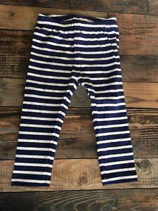 GYMBOREE NWT Mix N Match GIRLS LEGGINGS Navy Blue WHITE STRIPE KNIT 12-18 M