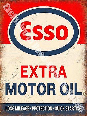 Vintage Garage 114, Esso Extra Motor Oil Can, Petrol, Old, Large Metal/Tin Sign