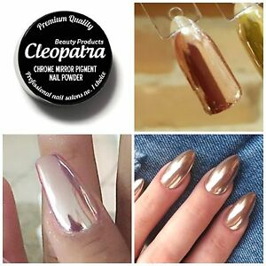 Rose gold chrome mirror effect nail pigment powder new for Miroir rose gold